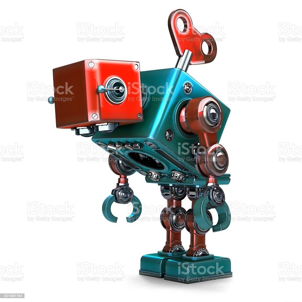 Wind-up überarbeitete Roboter mit Schlüssel in den Rücken getroffen. – Foto