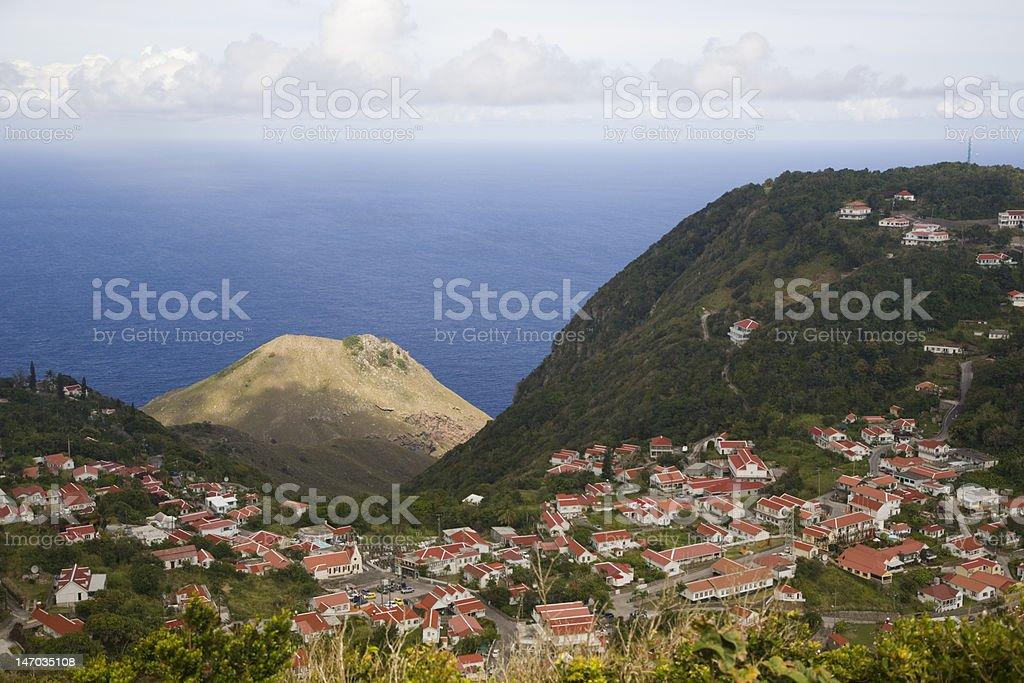 Windward town on Saba stock photo