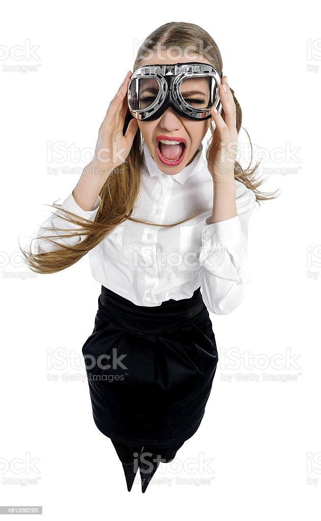 windy airwoman stock photo