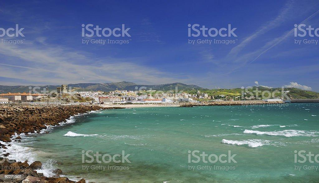 Windy bay of Tarifa, Spain stock photo
