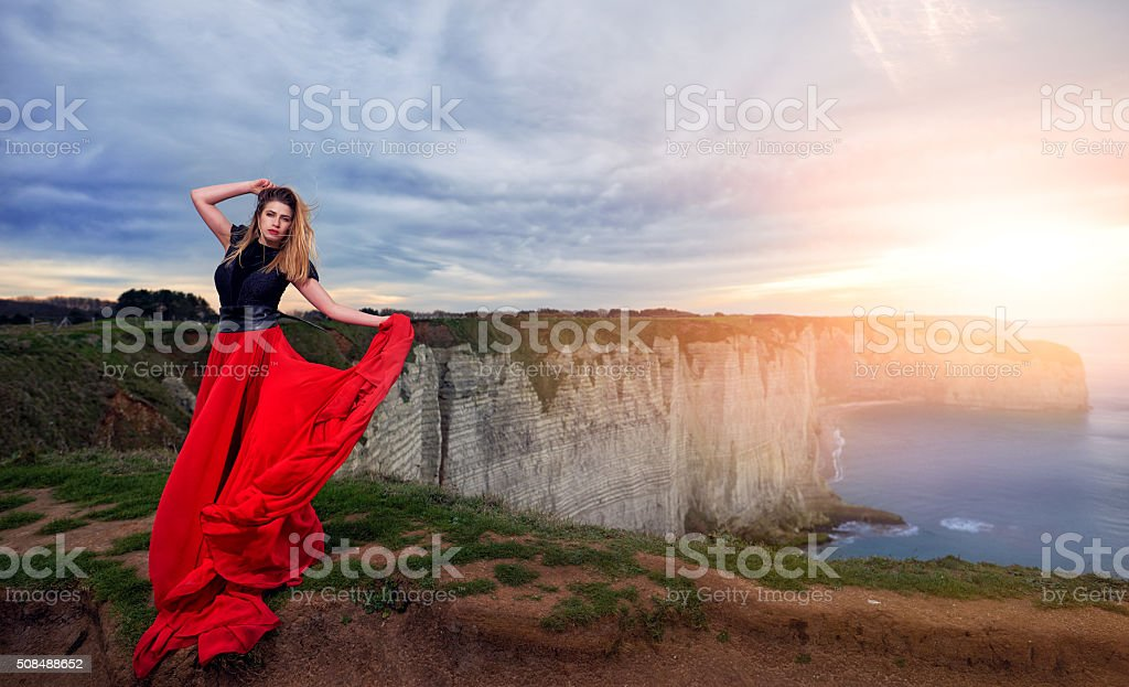 windy feeling and relaxation stock photo
