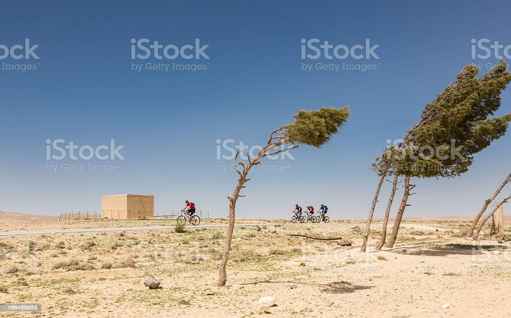 Windy mountainbiking at Jordan highlands royalty-free stock photo