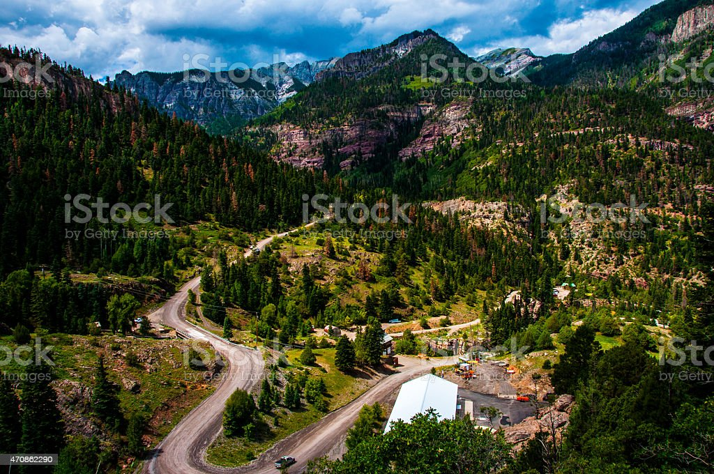 Windy Road down the valley of Switzerland of America stock photo