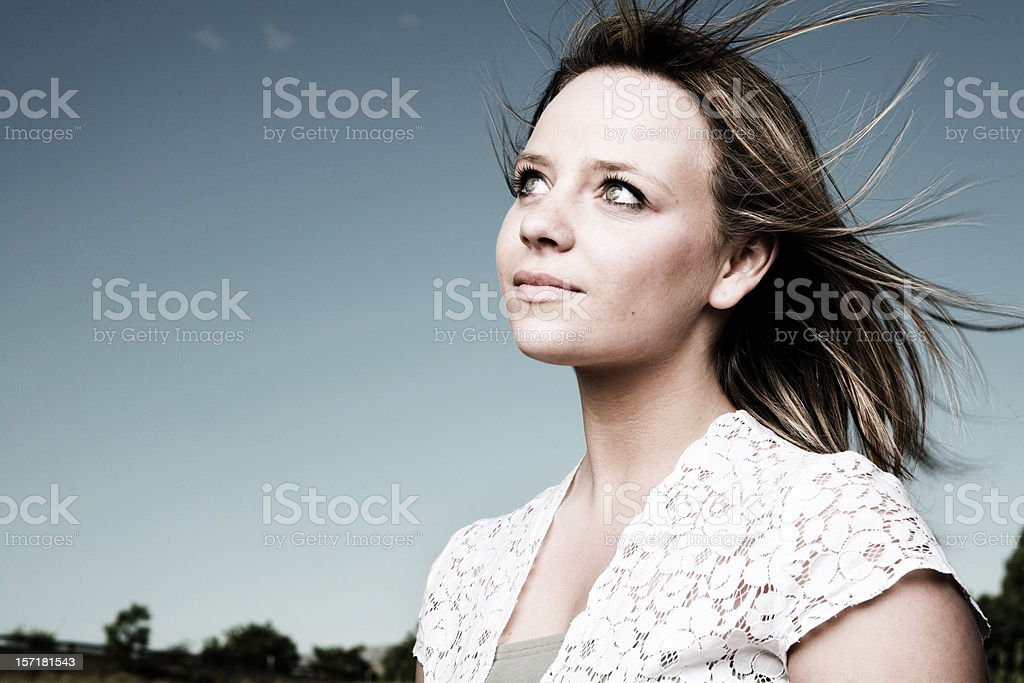 Windy Summer Portrait of a Young Woman royalty-free stock photo