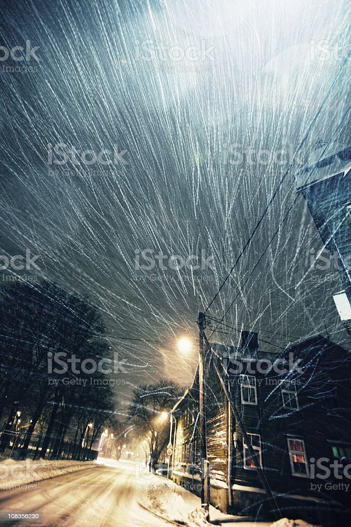 windy winter weather stock photo