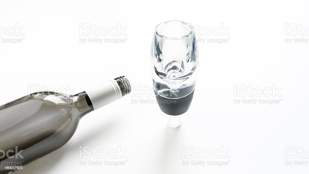 Wine aerator for red wine aeration stock photo