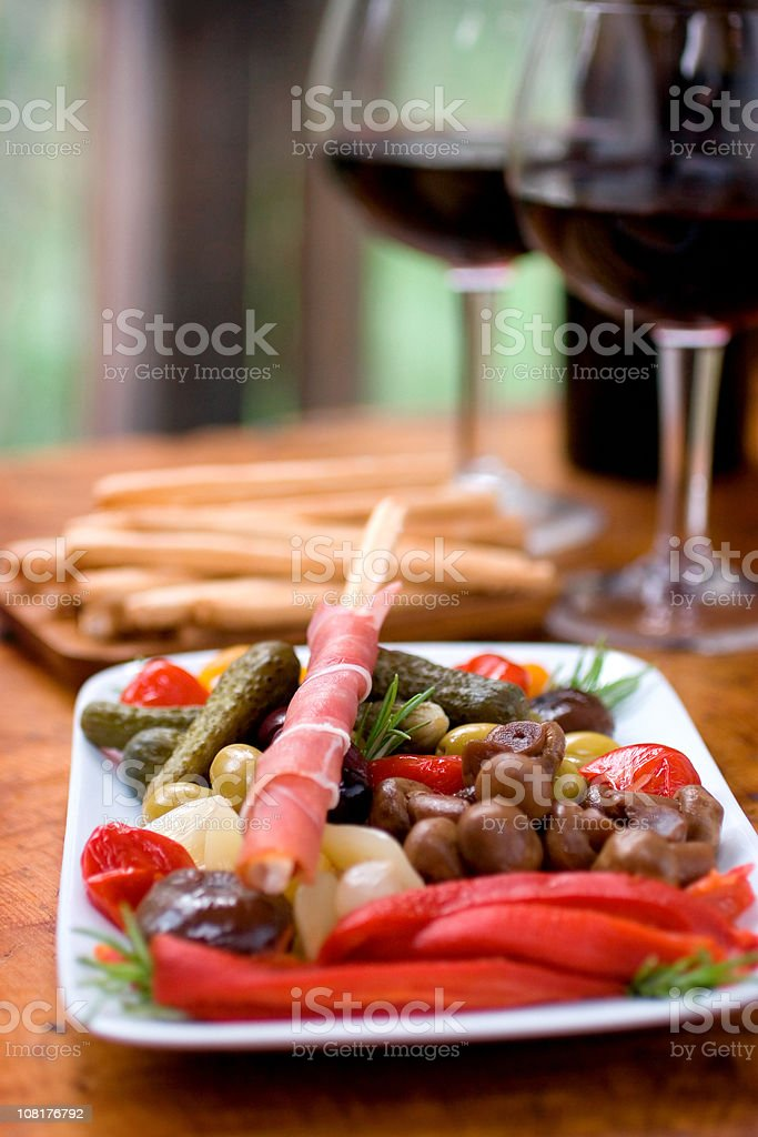 Wine and Antipasto royalty-free stock photo