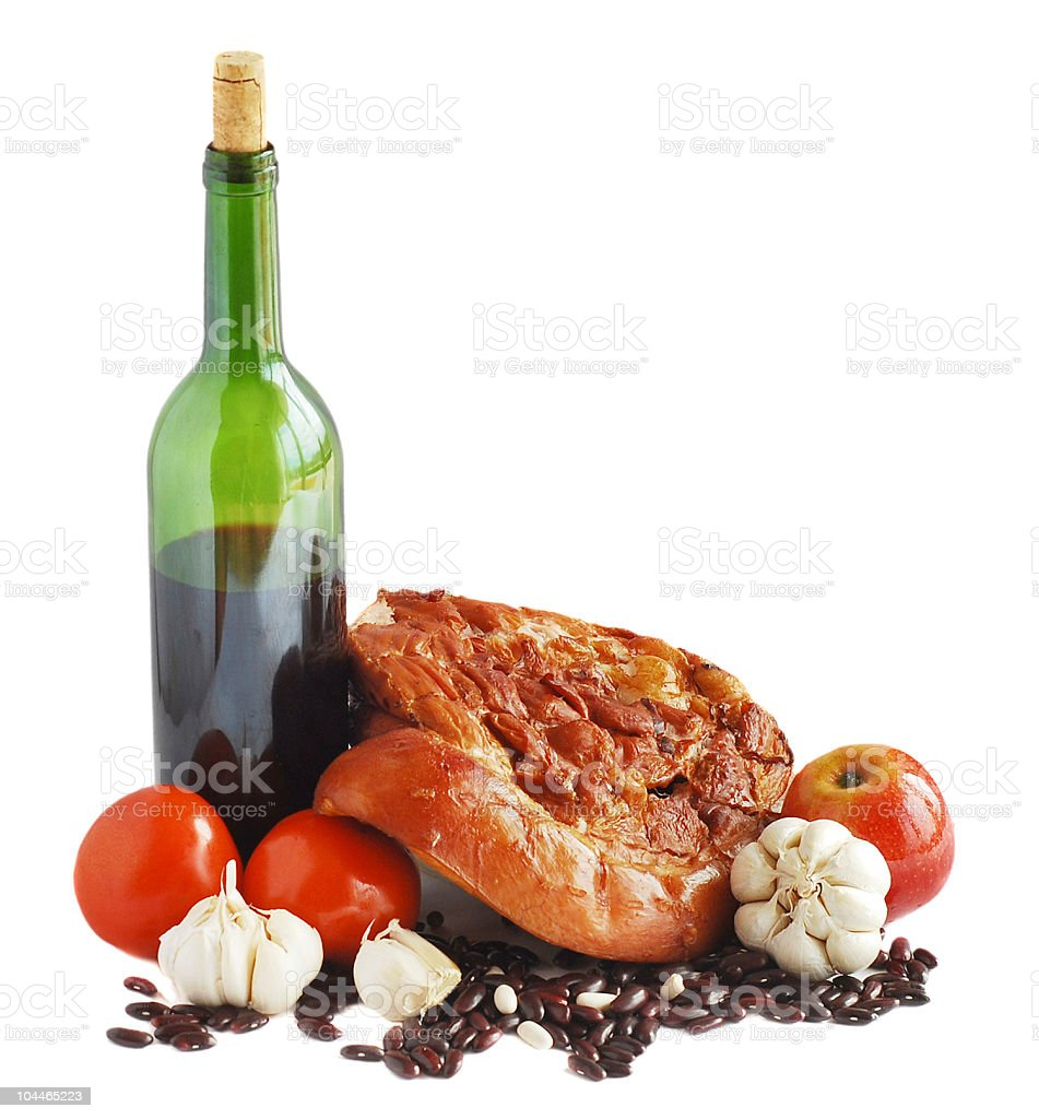 Wine and bacon royalty-free stock photo