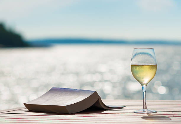 Wine and Book by the Sunny Sea stock photo