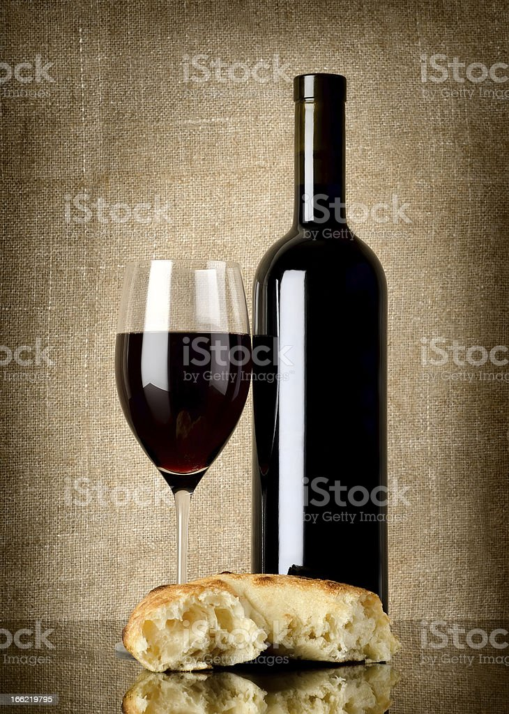 Wine and  bread on canvas royalty-free stock photo