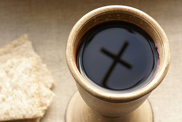 wine and bread - communion stock photos and pictures