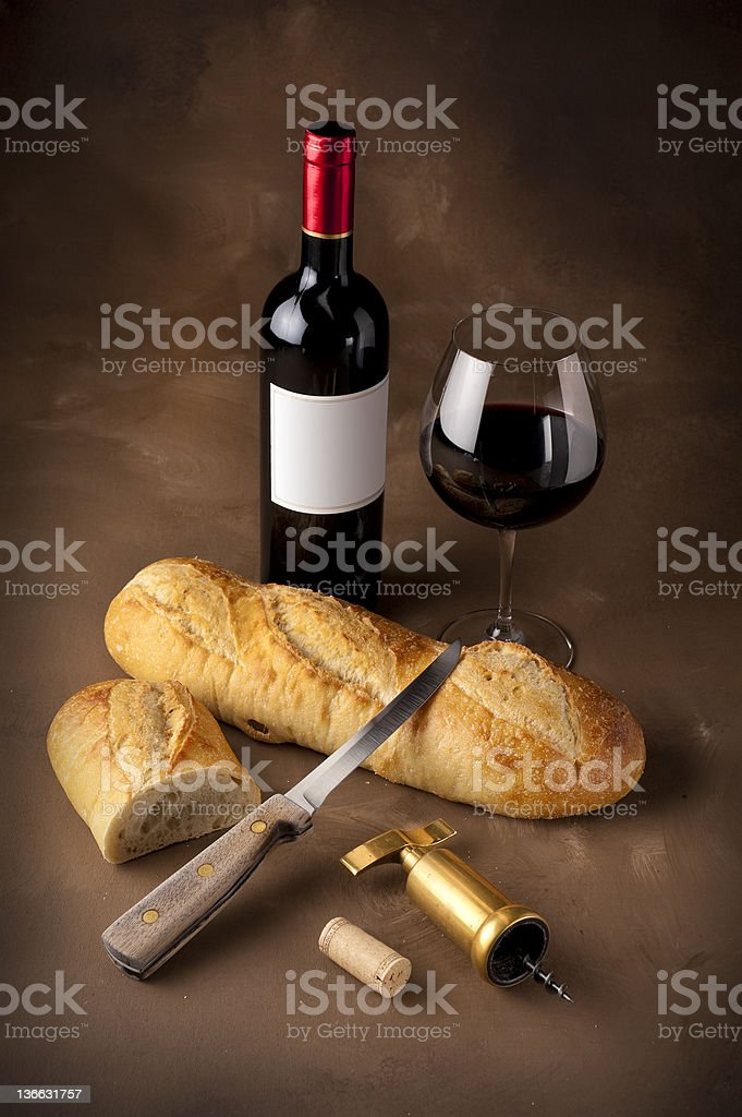 Wine and bread still life royalty-free stock photo