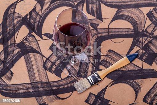 istock Wine and brush strokes 539970468