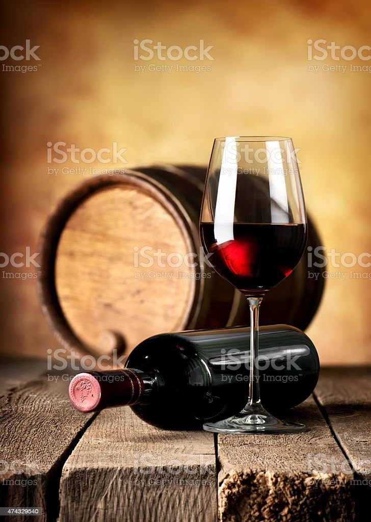 Wine and cask on table stock photo