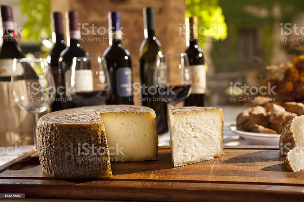Wine And Cheese From Tuscany royalty-free stock photo