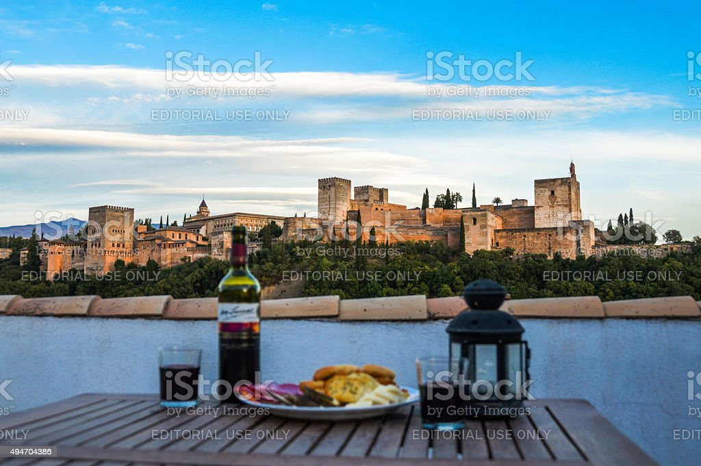 Wine and cheese party in Granada, Spain stock photo