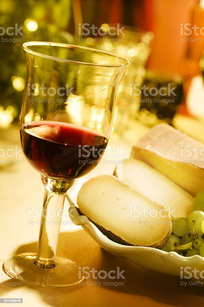 Wine and cheese royalty-free stock photo