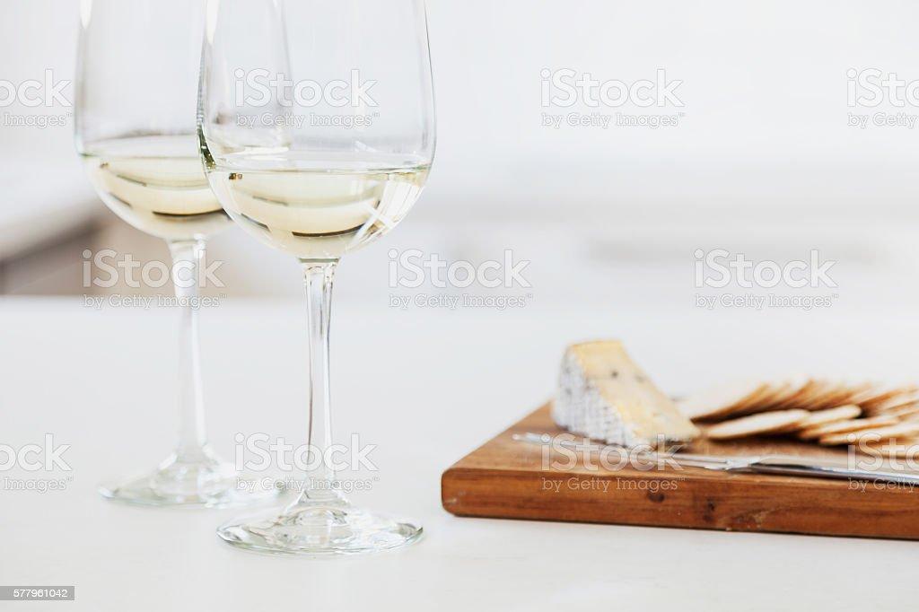 Wine and cheese platter stock photo