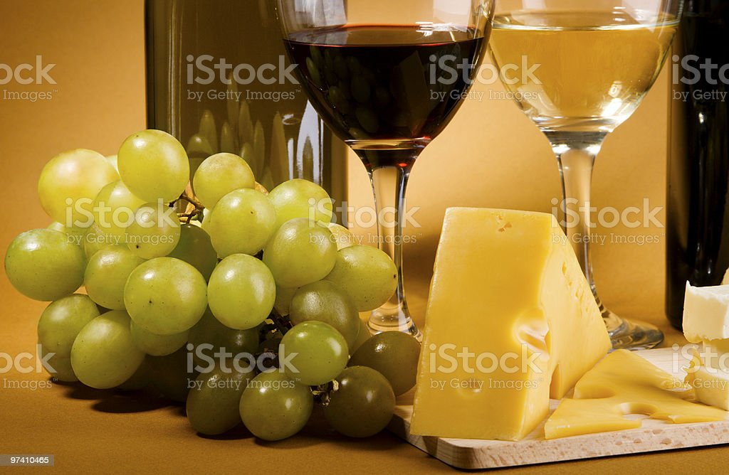 Wine and cheese still-life royalty-free stock photo