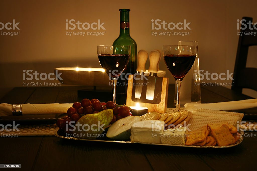 A wine and cheese tasting tray stock photo
