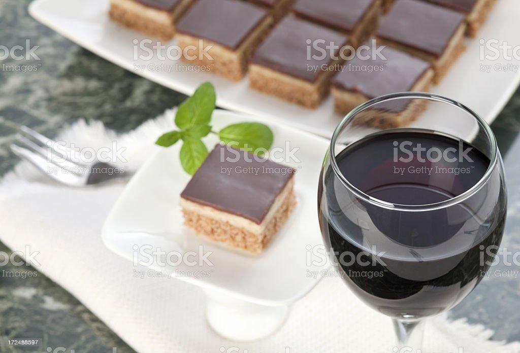 Wine and choco dessert stock photo