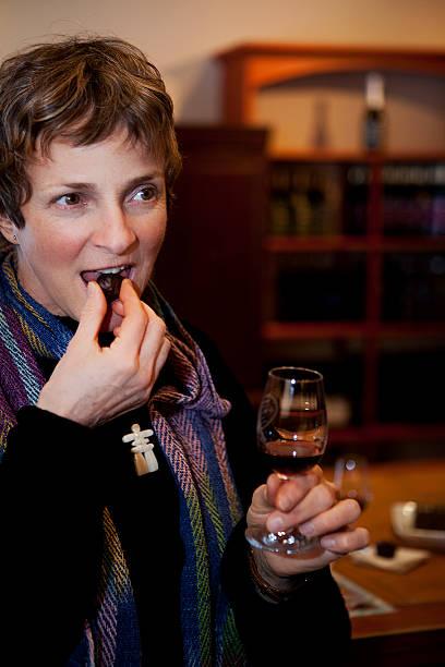 Wine and chocolate tasting stock photo
