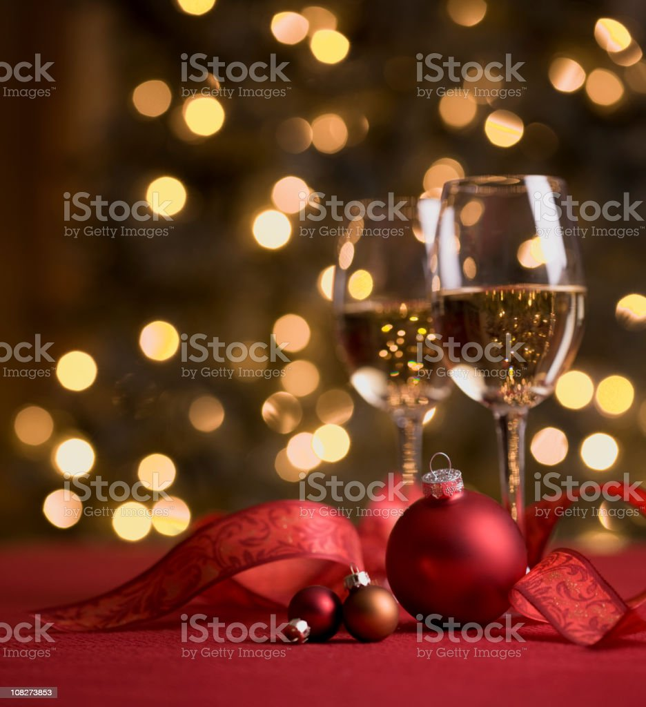 Wine and Christmas Lights royalty-free stock photo