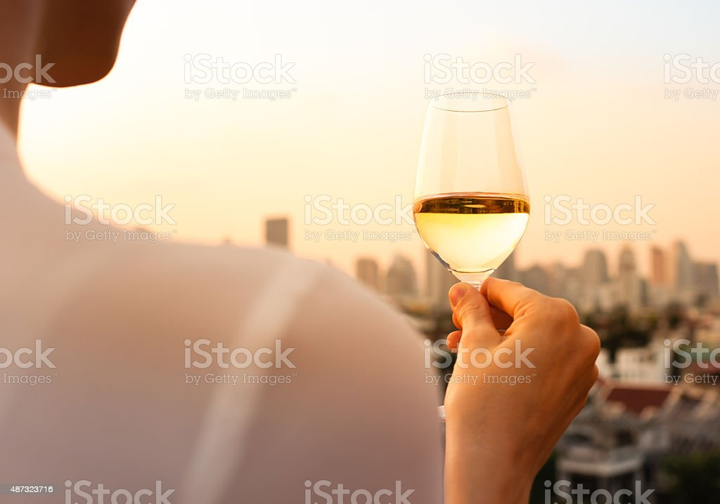 Wine and city views. stock photo