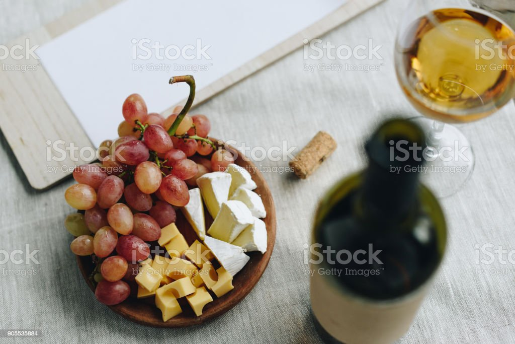 Wine and clipboard stock photo