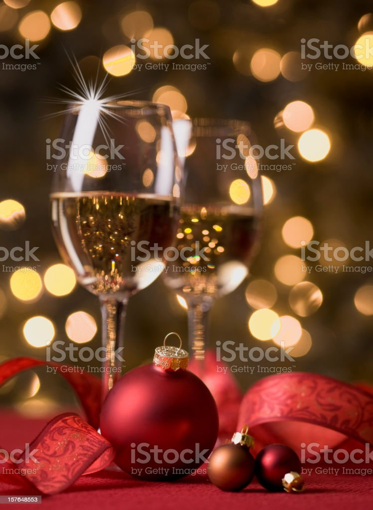 Wine and defocused lights royalty-free stock photo