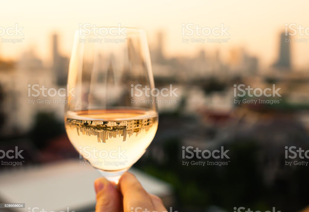 Wine and dine in the city stock photo