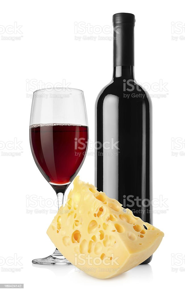Wine and dutch cheese isolated stock photo