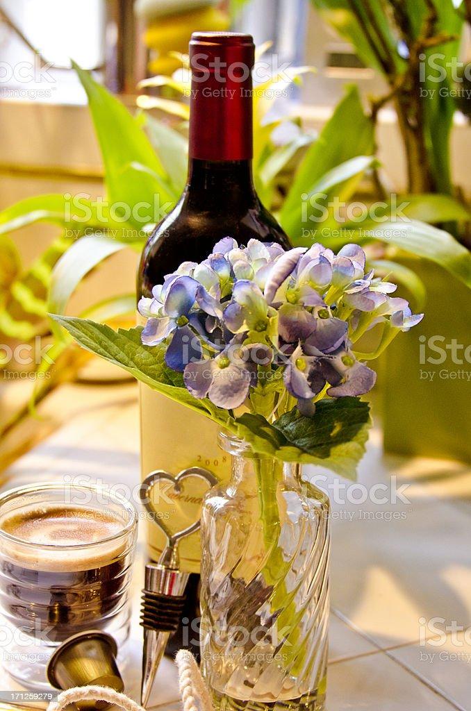 Wine and Espresso royalty-free stock photo