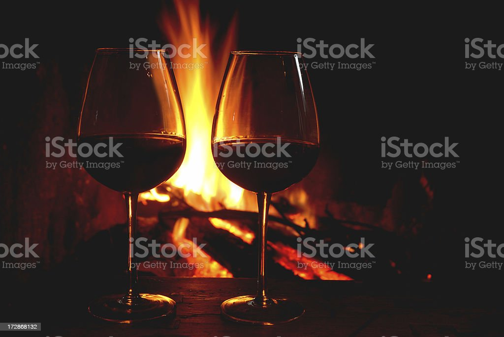Wine and fire royalty-free stock photo
