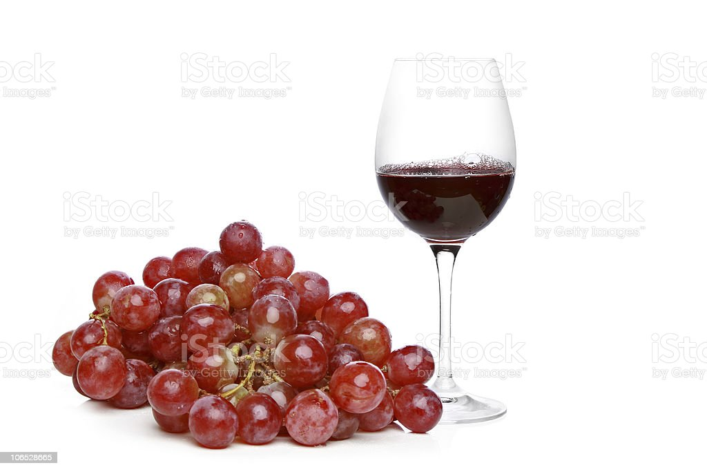 Wine and grapes on a white background royalty-free stock photo