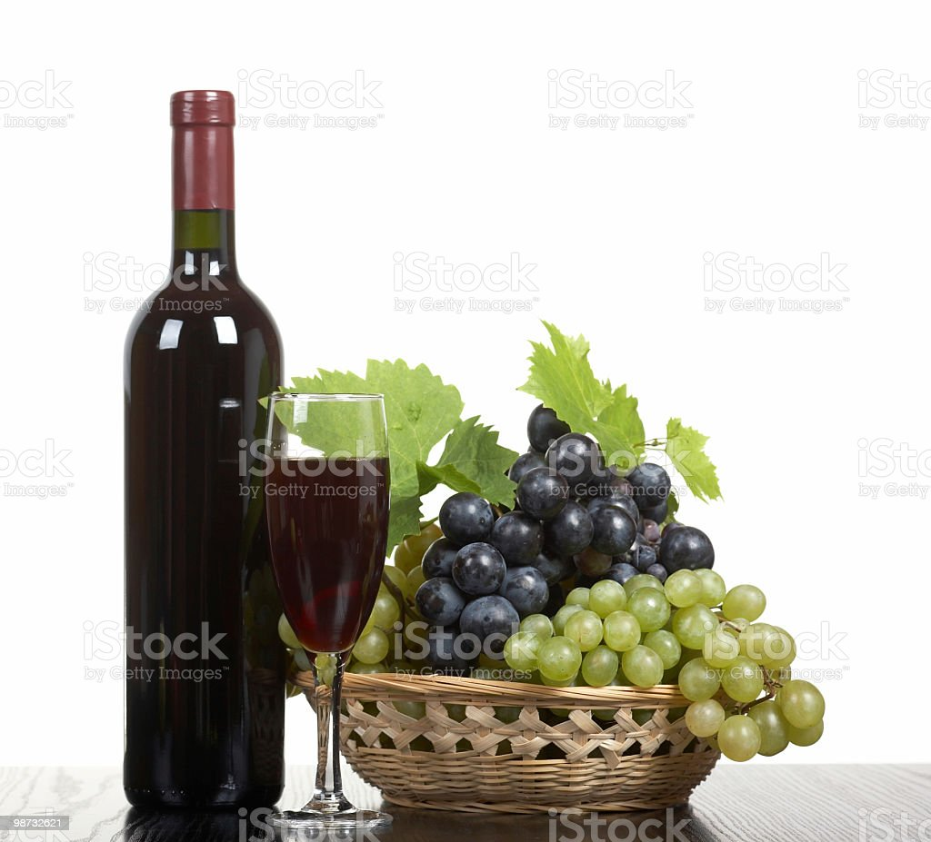Wine and grapes royalty free stockfoto
