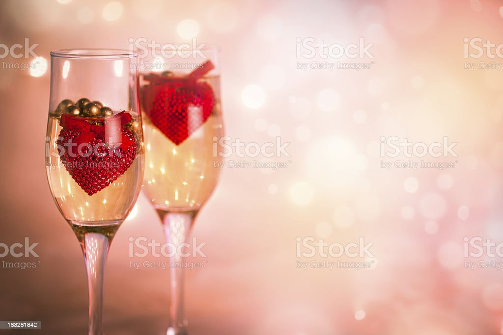 Wine and hearts royalty-free stock photo