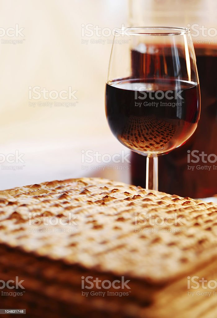 Wine and Matzot stock photo