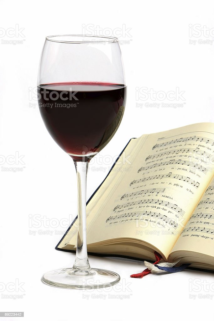 Wine and music royalty-free stock photo