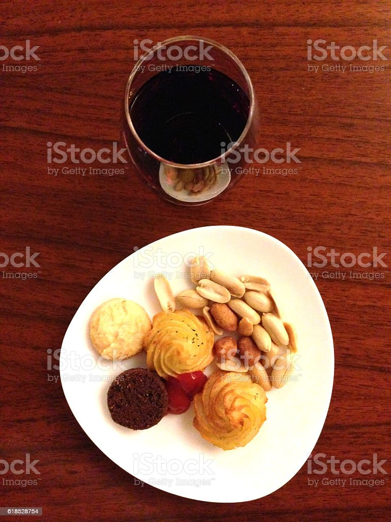 wine and nuts stock photo