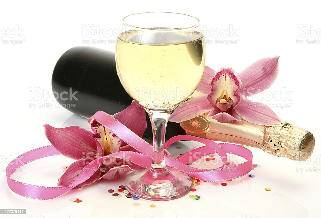 Wine and orchid royalty-free stock photo
