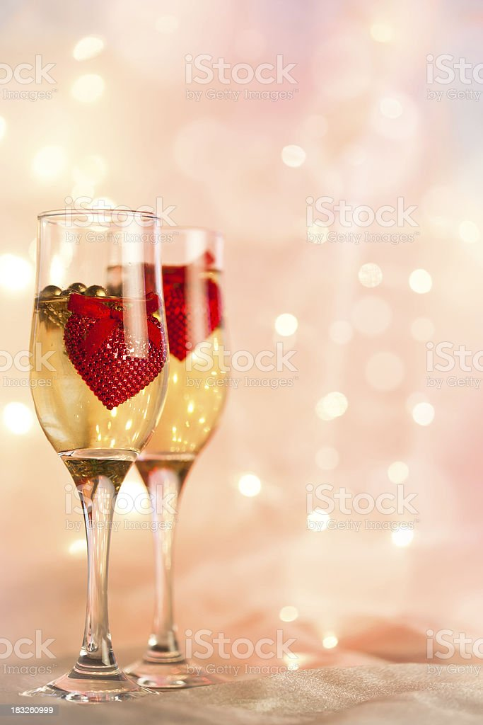 Wine and red hearts. Valentine's Day. royalty-free stock photo