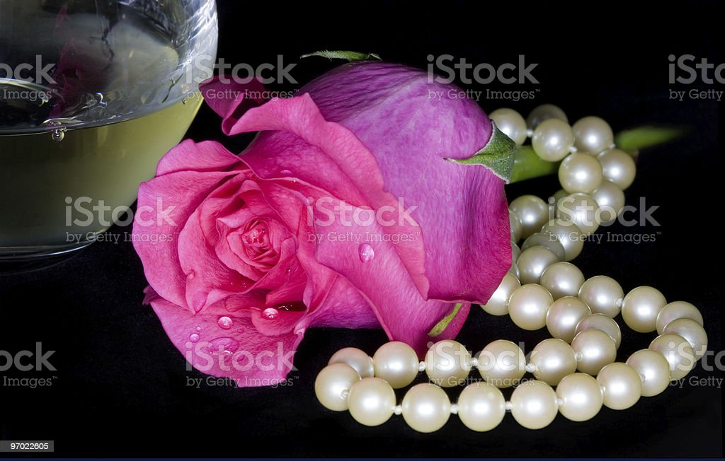Wine and Rose royalty-free stock photo