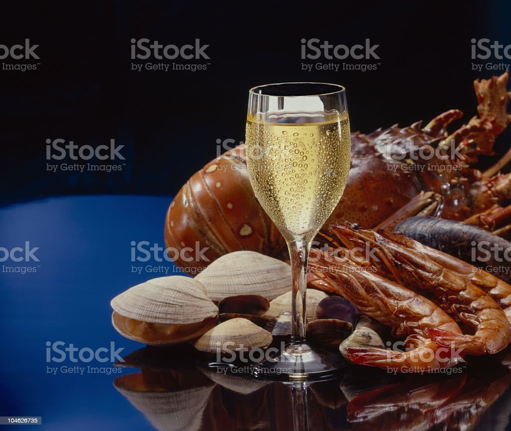 Wine and sea food royalty-free stock photo