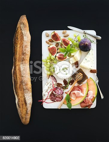 istock Wine and snack set. Baguette, figs, grapes, nuts, cheese variety 520014902