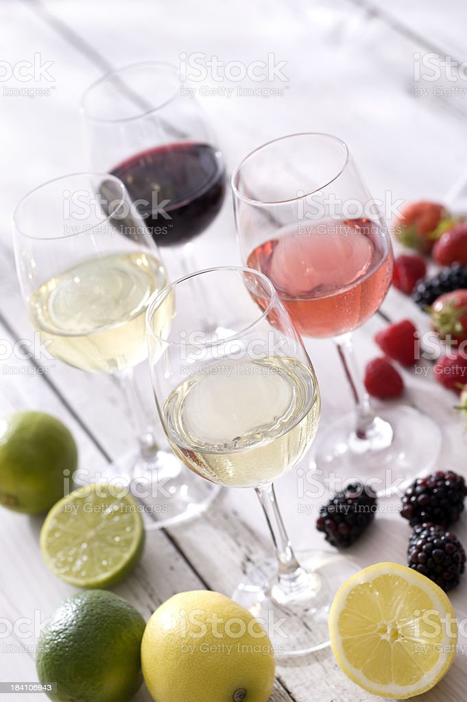Wine and Summer Fruit stock photo
