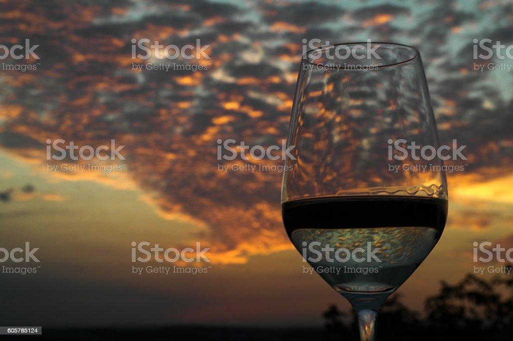 Wine and sunset stock photo