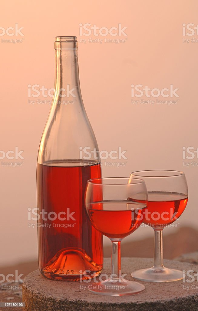 wine at sunset royalty-free stock photo