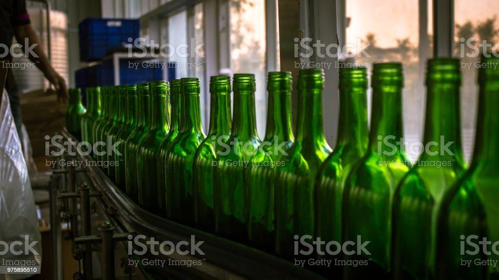 Wine bottling line at the vineyard in Maharashtra Mumbai
