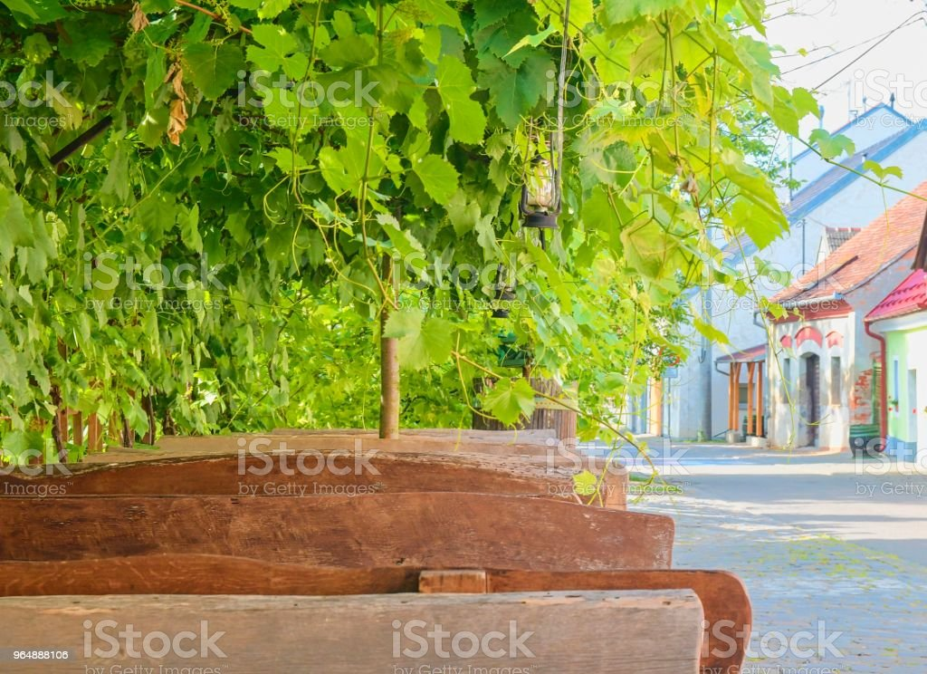 Wine background and benches. View on wine cellars in Europe. Czech Republic, South Moravia royalty-free stock photo